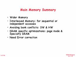 Summary-Main Memory