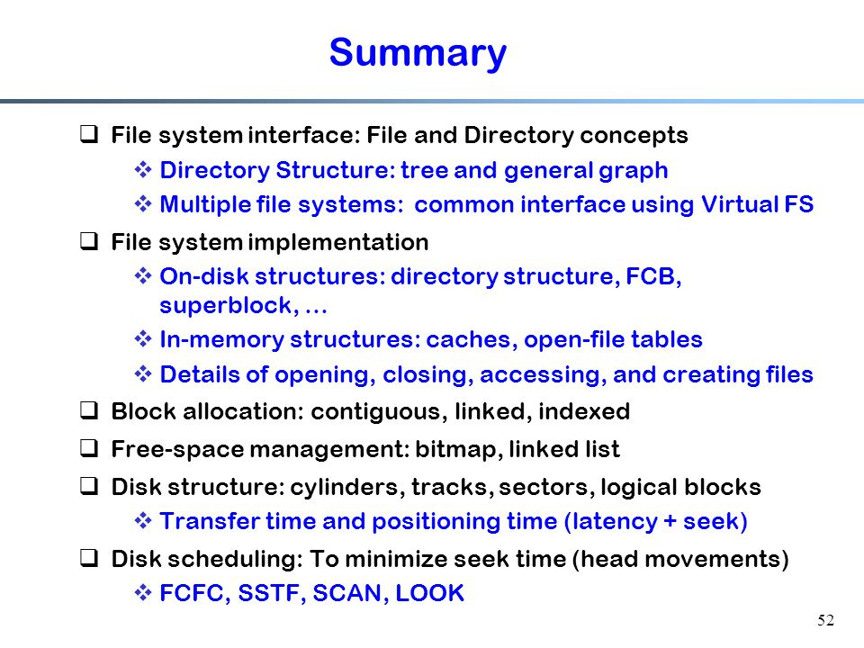 File system interface-Summary