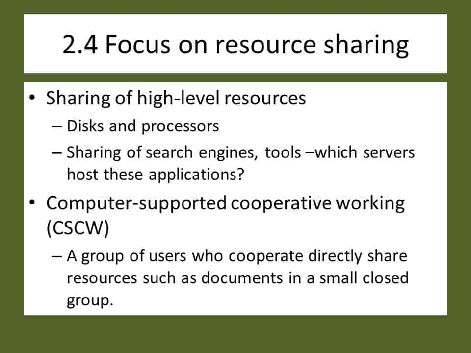 Focus on resource sharing