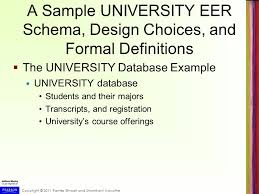 A Sample UNIVERSITY EER Schema, Design Choices, and Formal Definitions