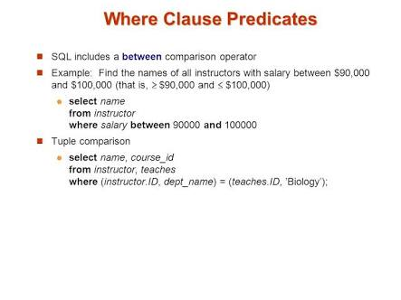 Where Clause Predicates
