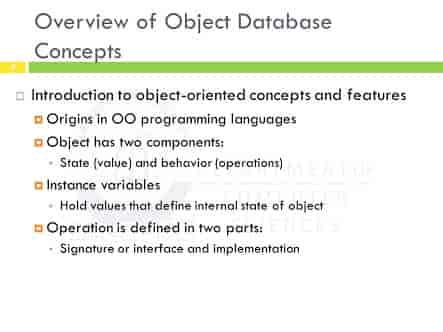 Overview of Object Database Concepts