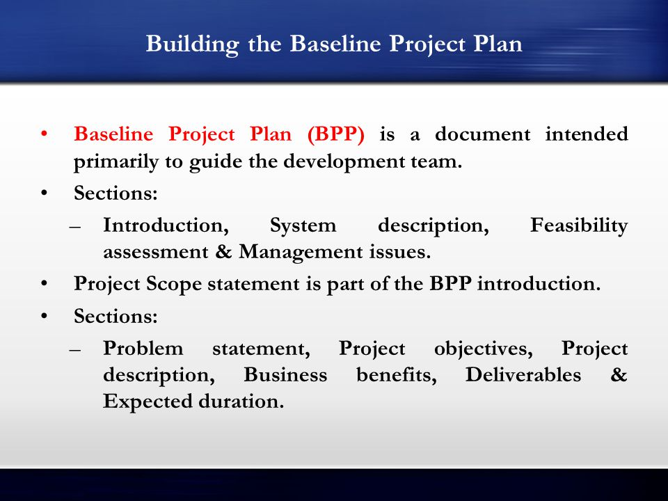 Building the Baseline Project Plan