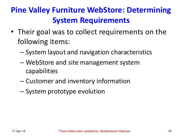 Pine Valley Furniture WebStore: Determining System Requirements