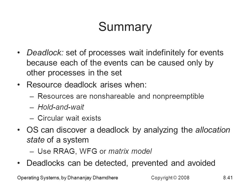 Deadlock Summary