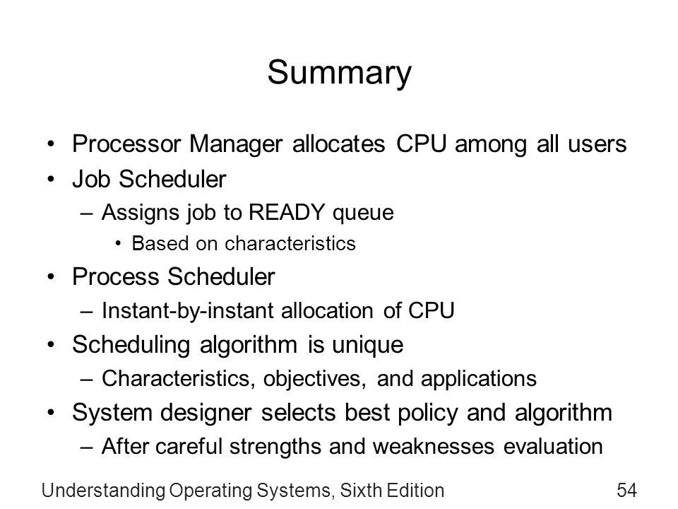 Summary of CPU Scheduling