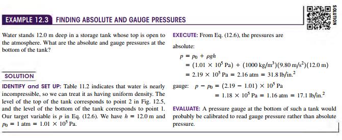 absolute Pressure and Gauge Pressure