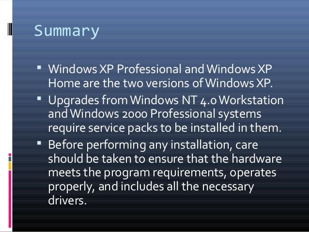 Windows XP- Summary